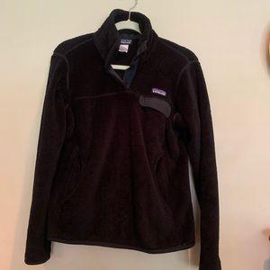 Patagonia black fleece re tool snap t sweater sz M